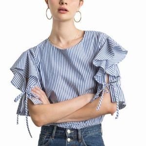 Pixie Market Quincy Ruffle Tie Sleeves Top Small